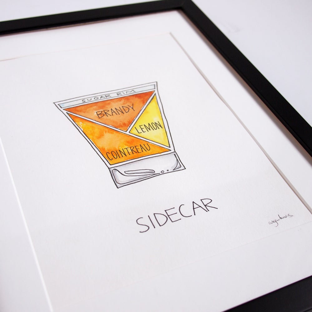 Image of Original Sidecar Cocktail Watercolor Painting - Framed
