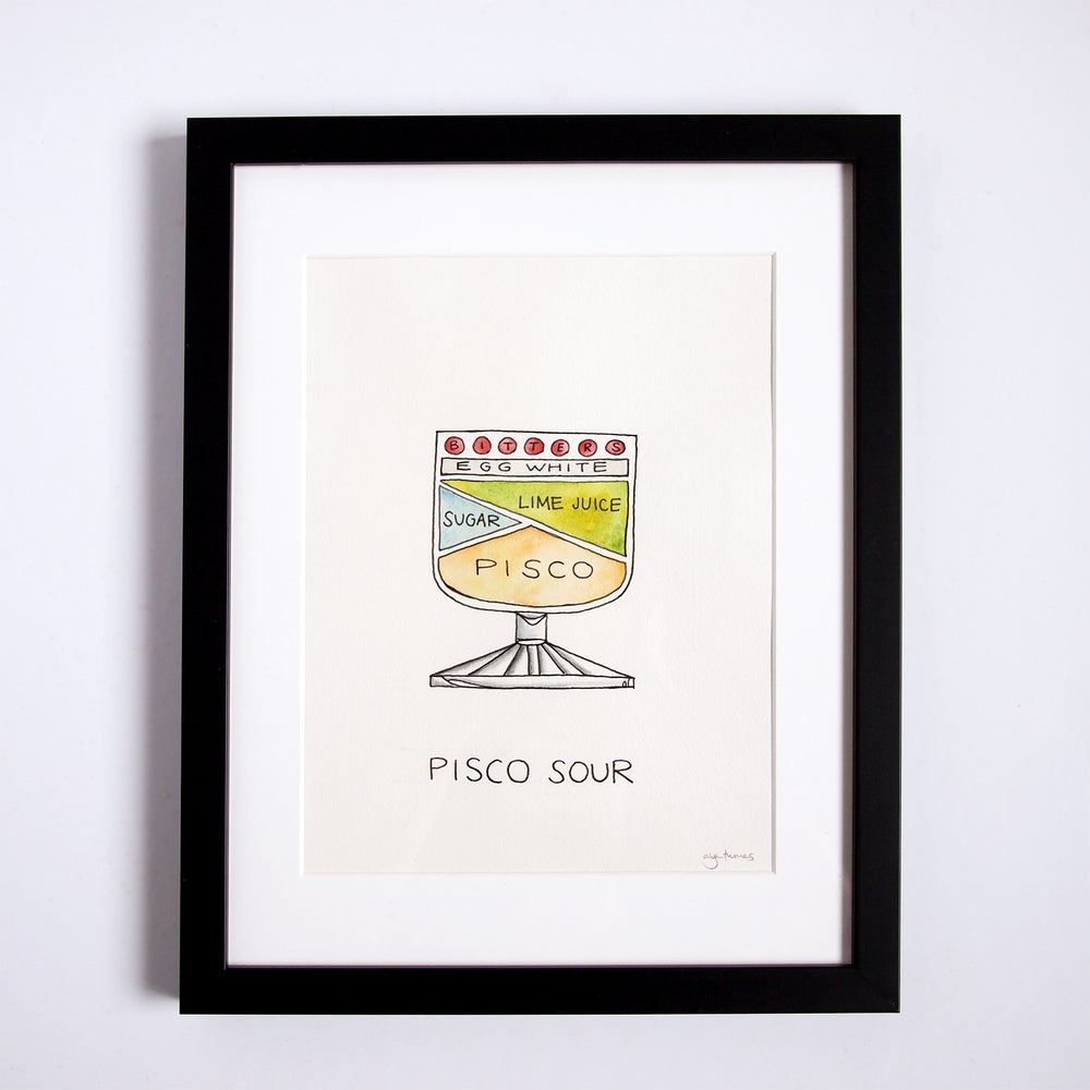Image of Original Pisco Sour Cocktail Diagram Artwork - Framed