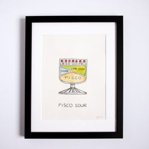 Original Pisco Sour Cocktail Diagram Artwork - Framed by Alyson Thomas of Drywell Art. Available at shop.drywellart.com