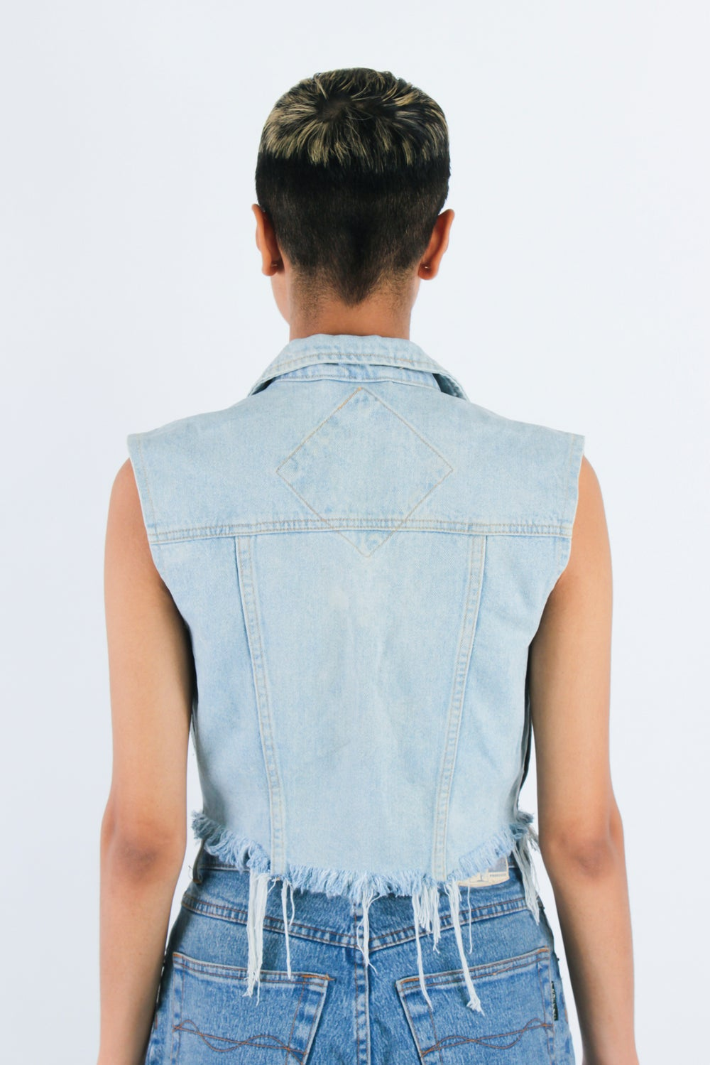 Image of 'Mercy' Fringed Cropped Sleeveless Jacket