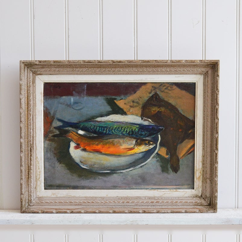 Image of 1940's , Oil Painting, 'Poissons' Adrien Holy