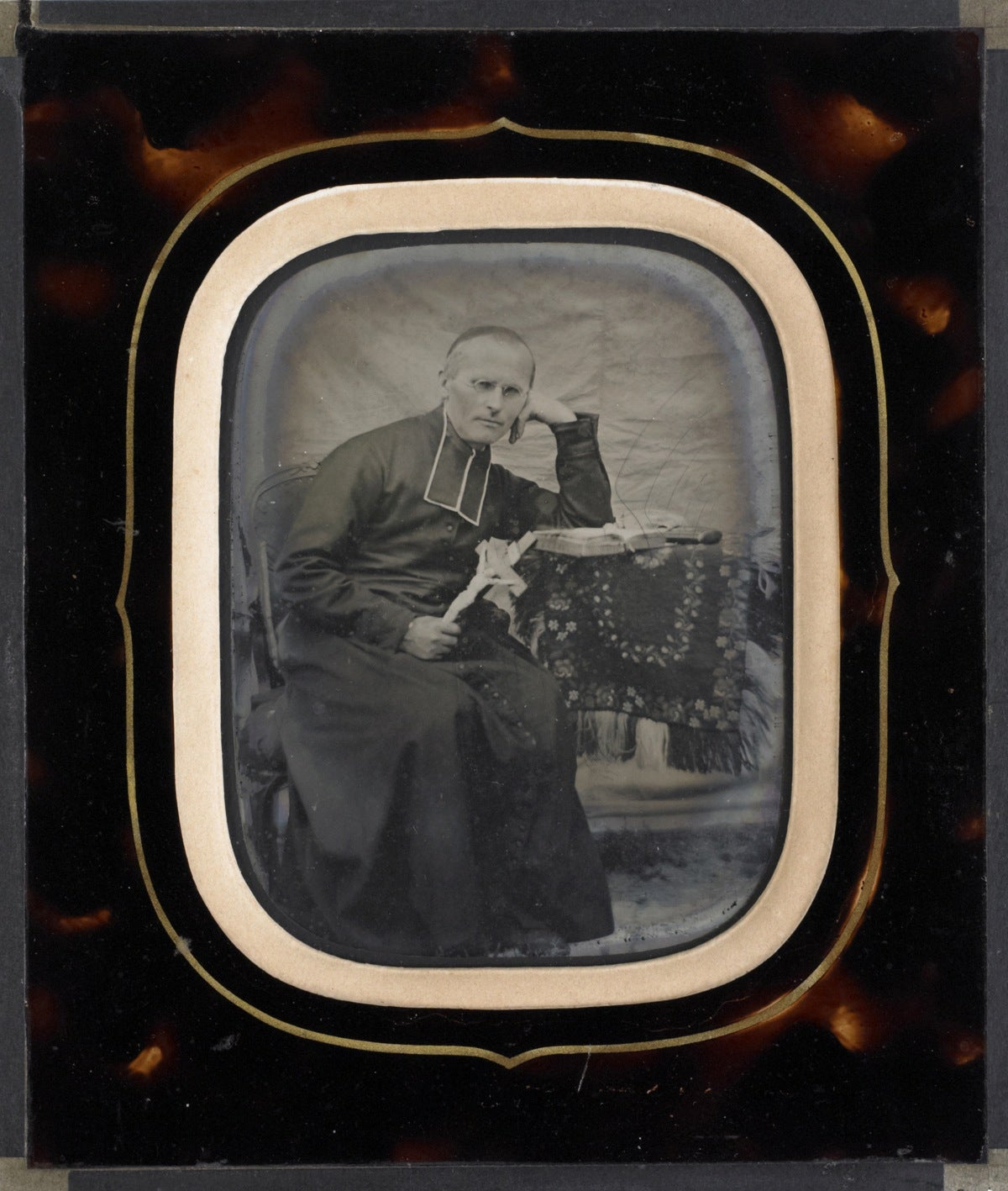 Image of French ambrotype portrait of a priest