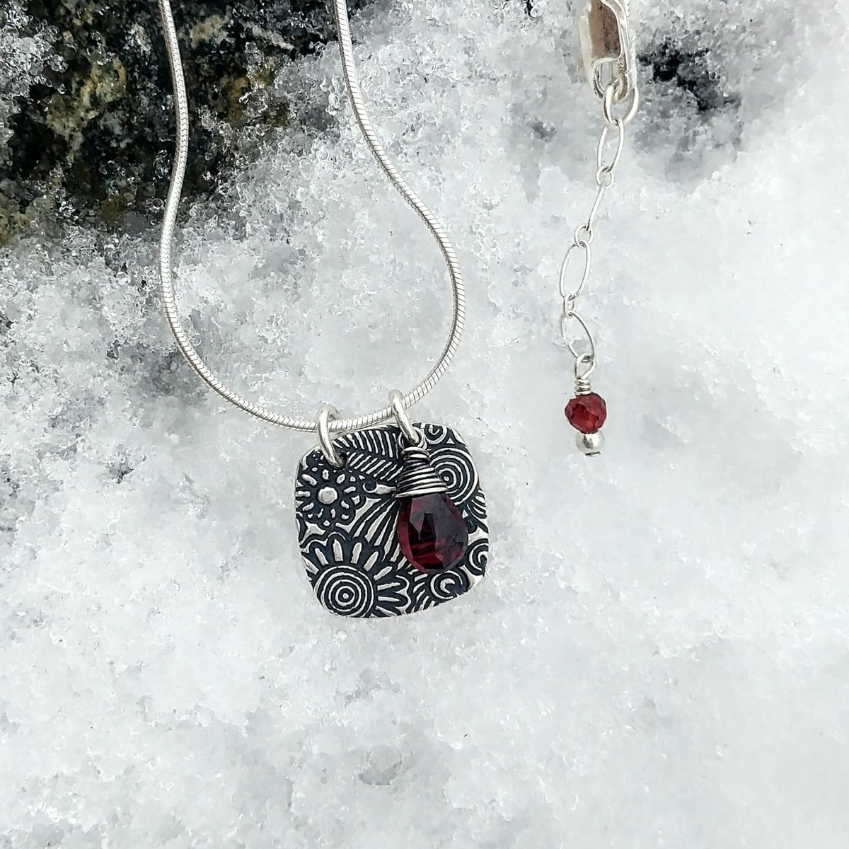 Image of Sunflower Tapestry with Faceted Red Garnet Necklace