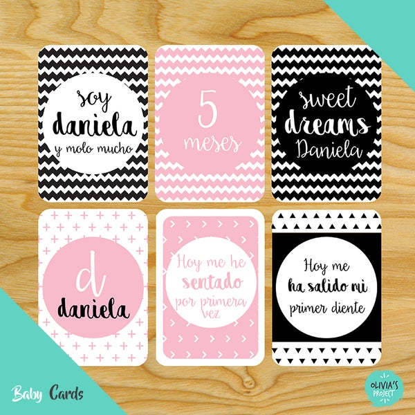 Image of Baby Cards Modelo Dreams Rosa y Negro