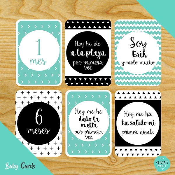 Image of Baby Cards Modelo Dreams Mint y Negro