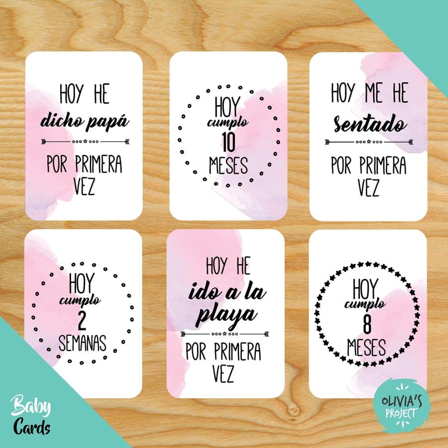 Image of Baby Cards Modelo Acuarela Rosa