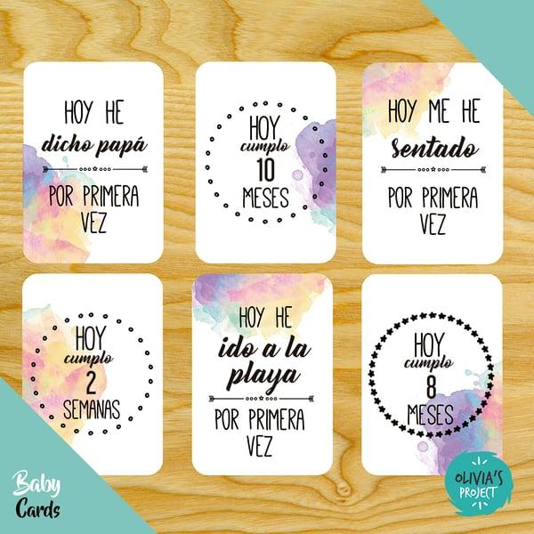 Image of Baby Cards Modelo Acuarela Arcoíris