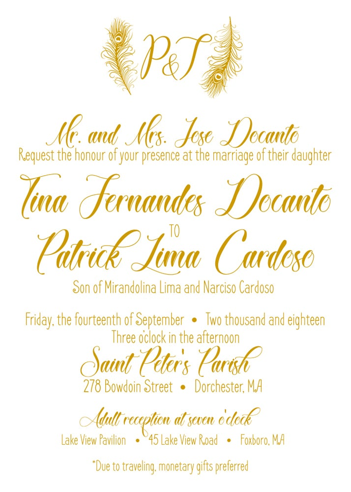 Image of Gold Wedding Reprint & McDaniels Wedding Invites