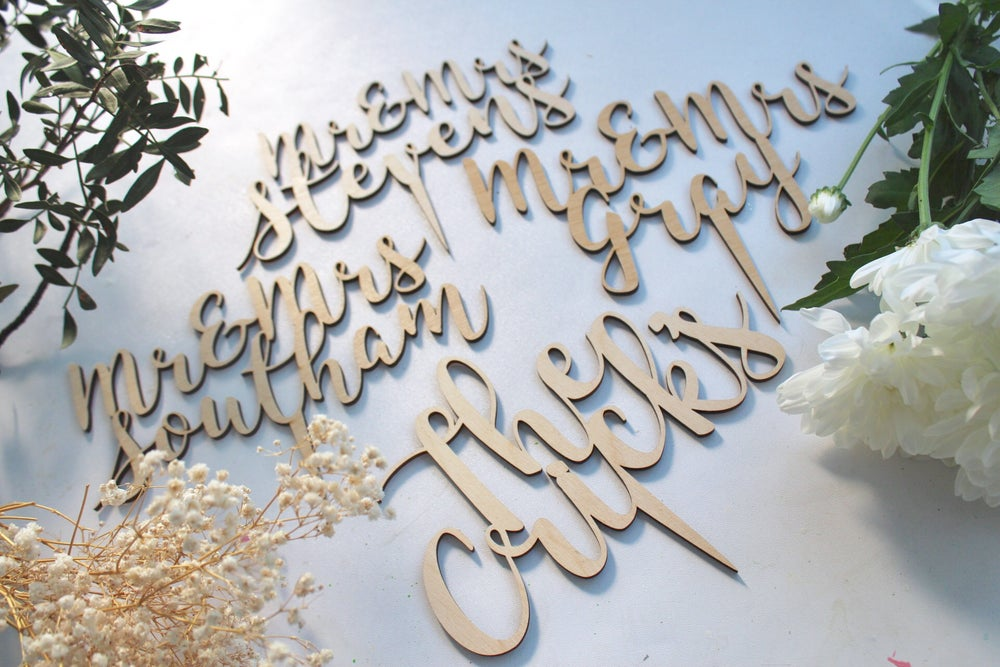 Image of Wedding, christening and baby shower, first birthday - wooden and acrylic life event toppers