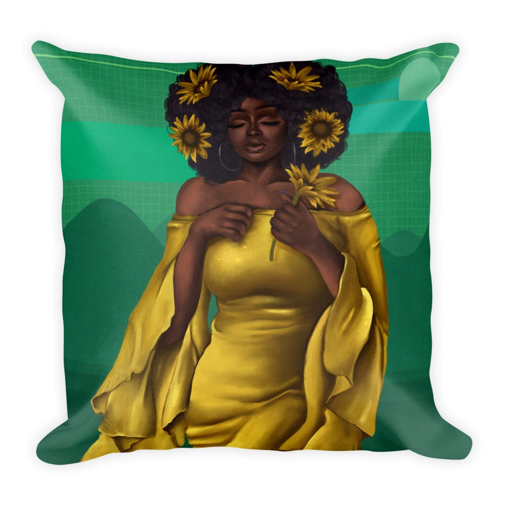 """Image of """"Sun and Flowers"""" Pillow"""