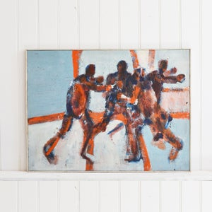 Image of 1960's, Large, Expressionist Oil Painting, 'The Game'
