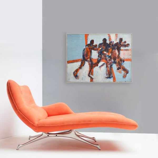 Image of 1960's, Large, Expressionist Oil Painting, 'The Game' WAS £795