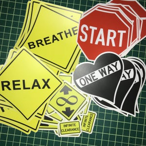 Image of 50 Sticker Mixed Pack BREATHE-RELAX-START-INFINITE CLEARANCE-ONE WAY HEART