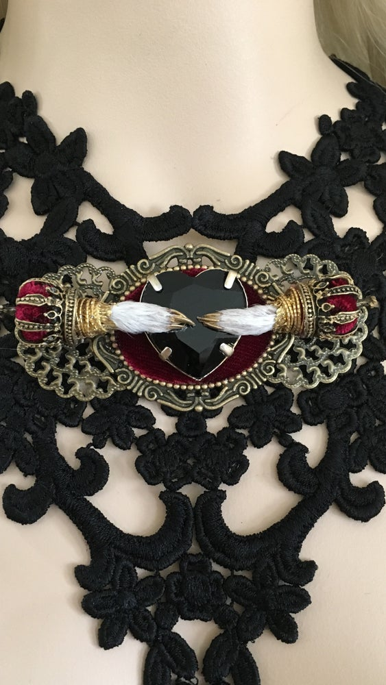 Image of Lace taxidermy necklace with back rhinestone