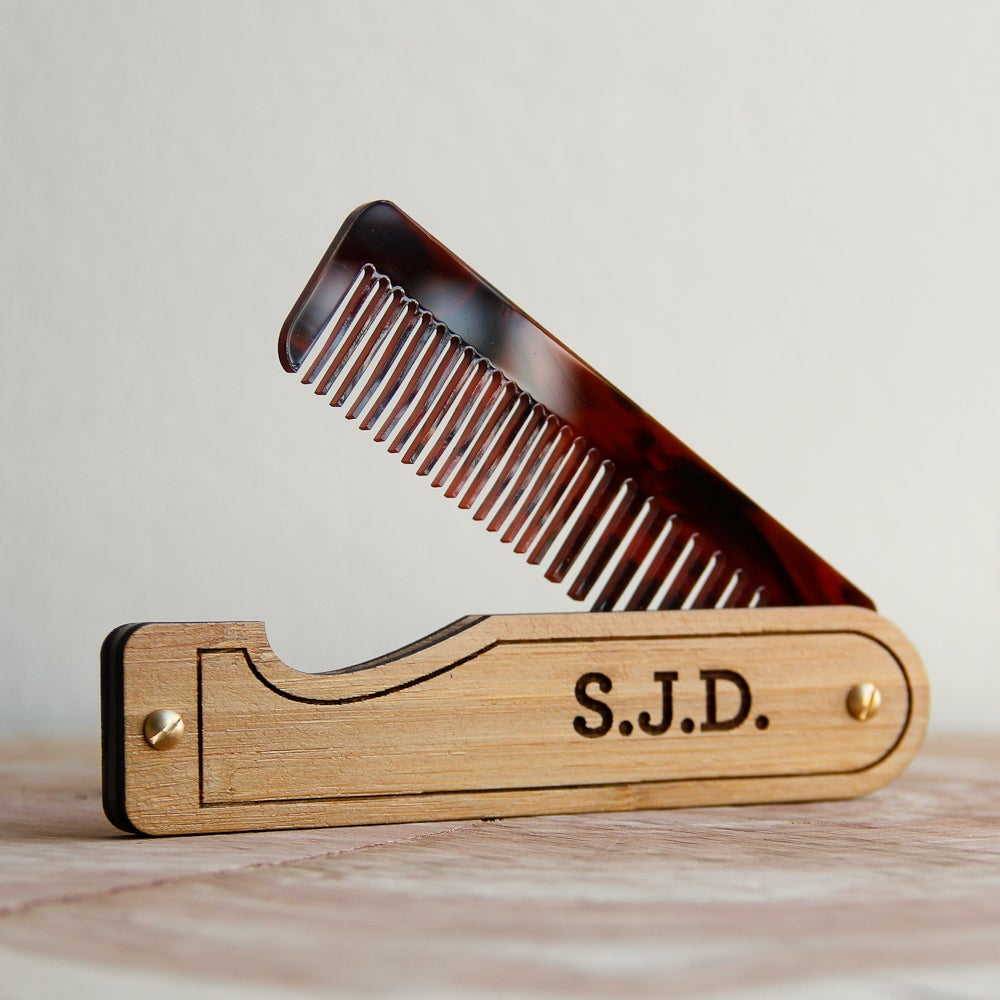 Image of Personalized Handmade Folding Wood Hair Comb - Bamboo and Tortoise Shell Acrylic