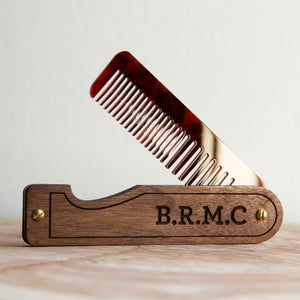 Image of Personalized Handmade Folding Wood Hair Comb - Walnut and Tortoise Shell Acrylic
