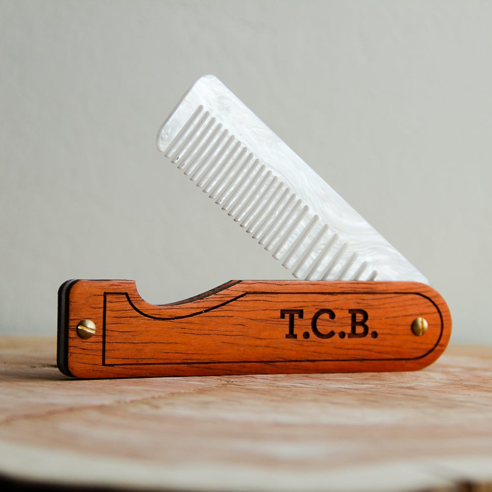 Image of Personalized Folding Comb for Men and Women - Padauk and White Mother of Pearl Acrylic