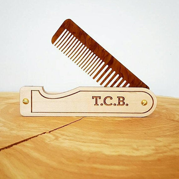 Image of Hair Comb - Personalized Folding Pocket Comb for Men and Women - Maple and Tigerlily