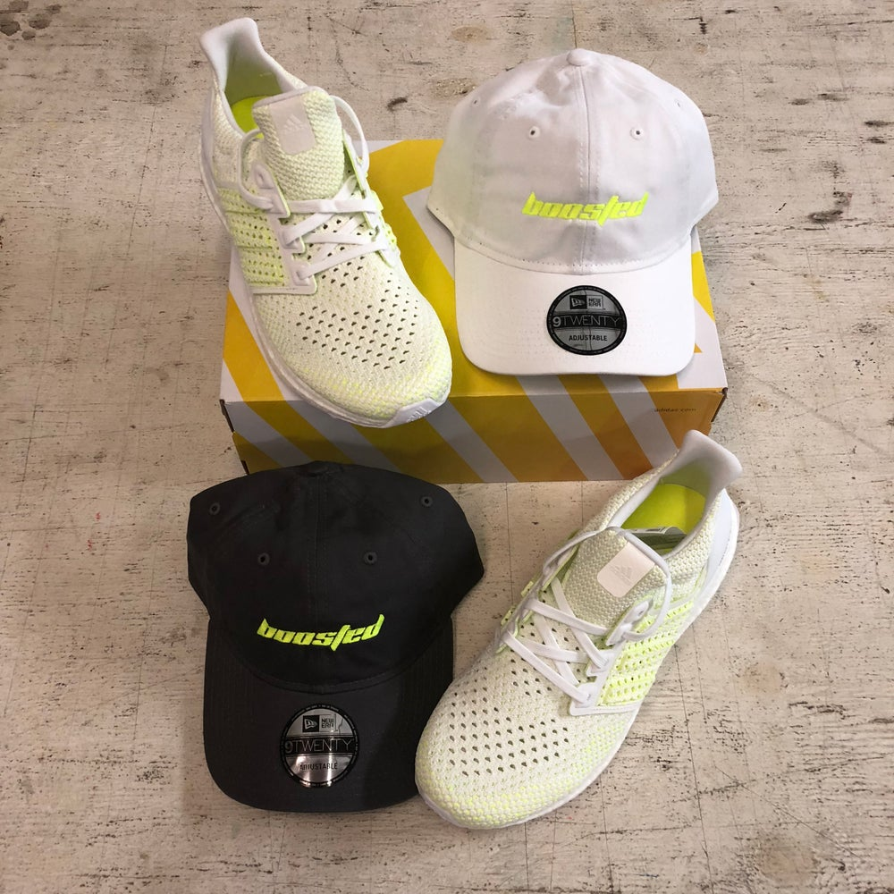 "BOOSTED ""CALABASAS"" NEON YELLOW --- T-SHIRT OR DAD HAT"
