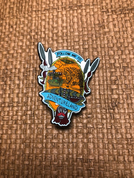 "Image of 2"" Follow Me To Adventureland Pin"