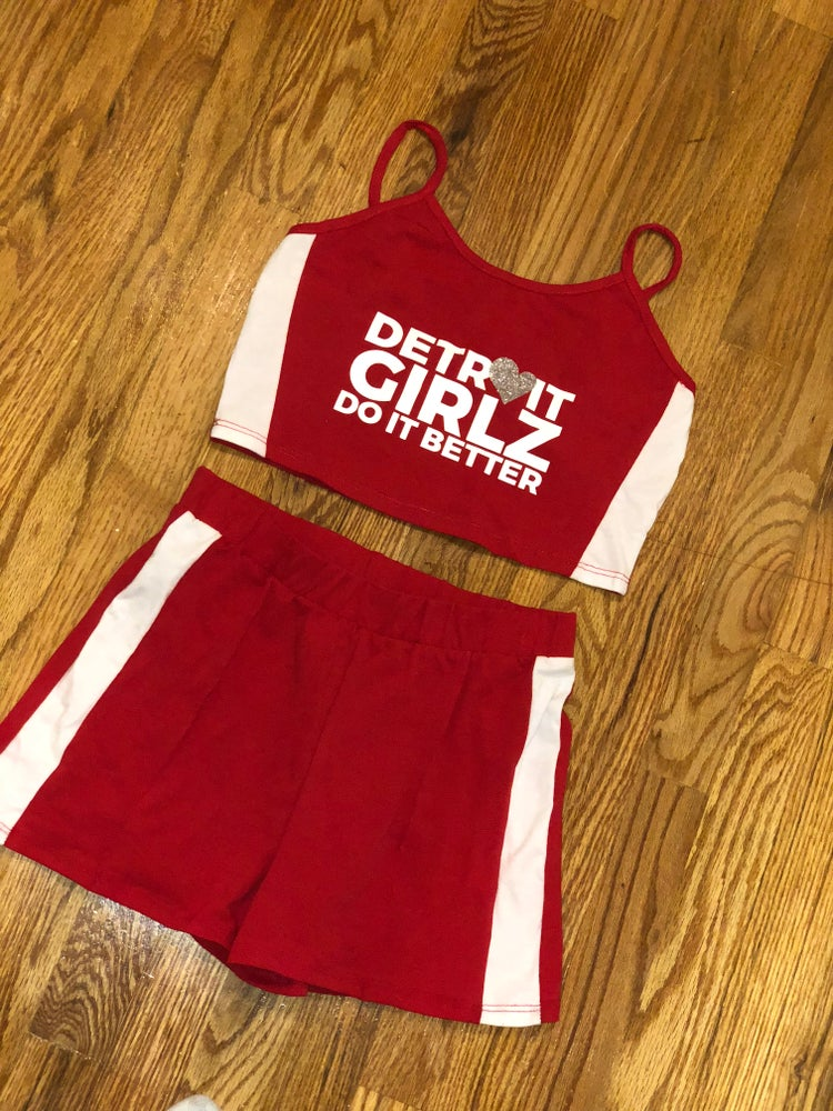 Image of The Red and white short set