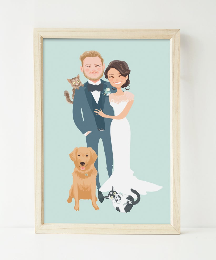 Image of Wedding couple and pets portrait
