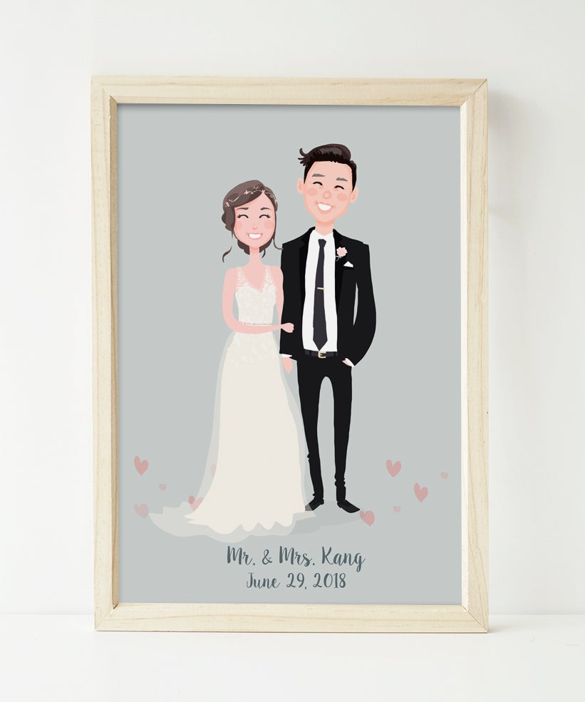 Image of Bride and groom in their wedding attire portrait