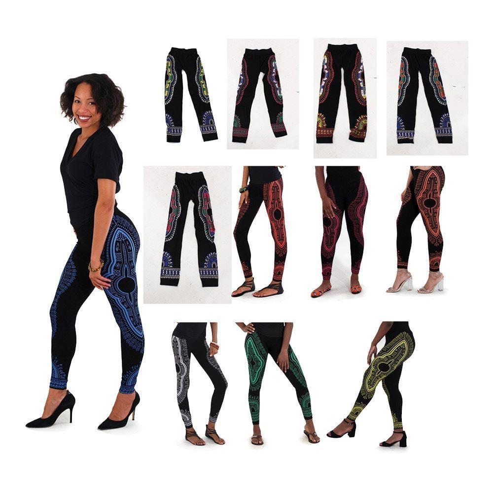 Image of Traditional Print Black Leggings