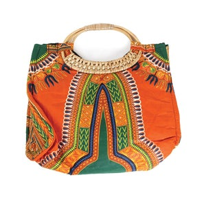 Image of Traditional Angelina  Print Wicker Handle Bag