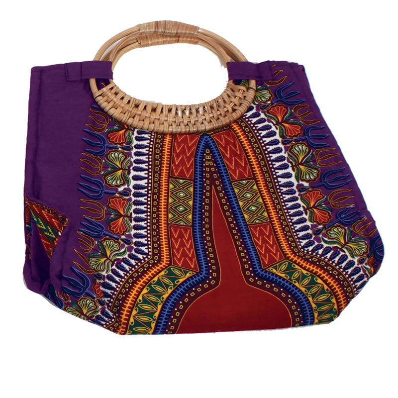 Traditional Angelina  Print Wicker Handle Bag
