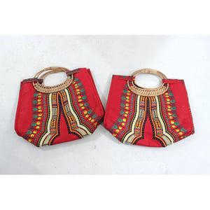 Image of Traditional Angelina  Print Wicker Handle Bag