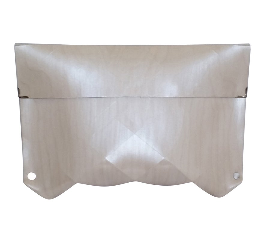 Image of origami wooden clutch in WHITE