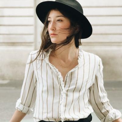 Chemise Anna à rayures Ocre - Maison Brunet Paris