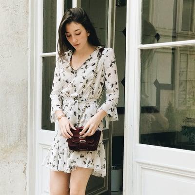 Robe Maude écrue imprimé à fleurs  - Maison Brunet Paris