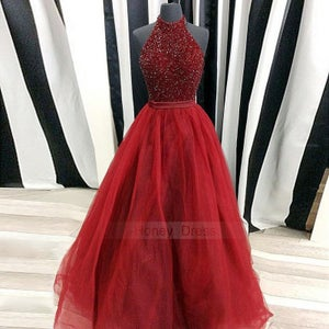 Image of Sexy Burgundy Halter Beaded Bodice A-line Tulle Evening Gown, Wine Red Illusion Long Prom Dresses