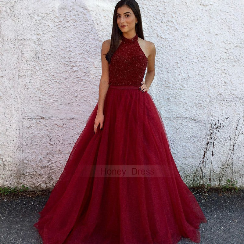 1c8f0d0fc2d ... Image of Sexy Burgundy Halter Beaded Bodice A-line Tulle Evening Gown