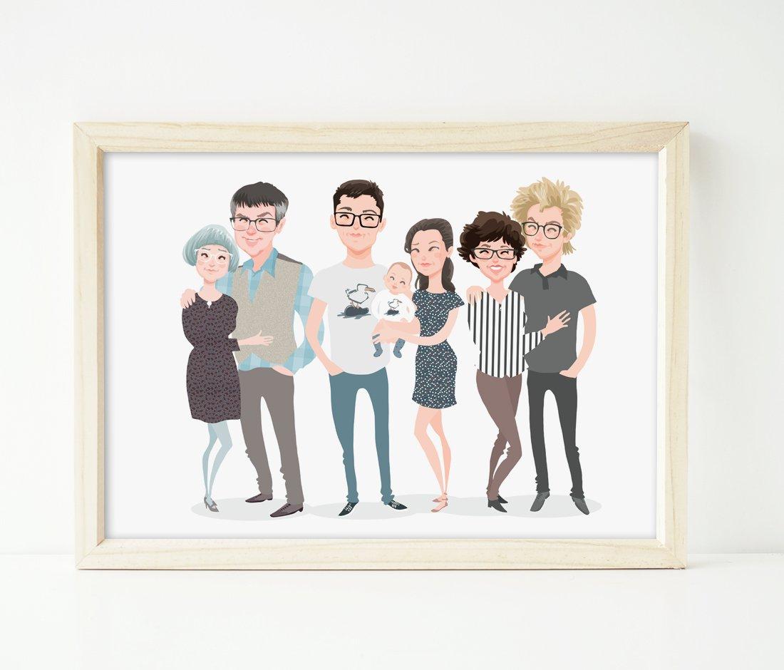 Image of Family of 7 custom portrait