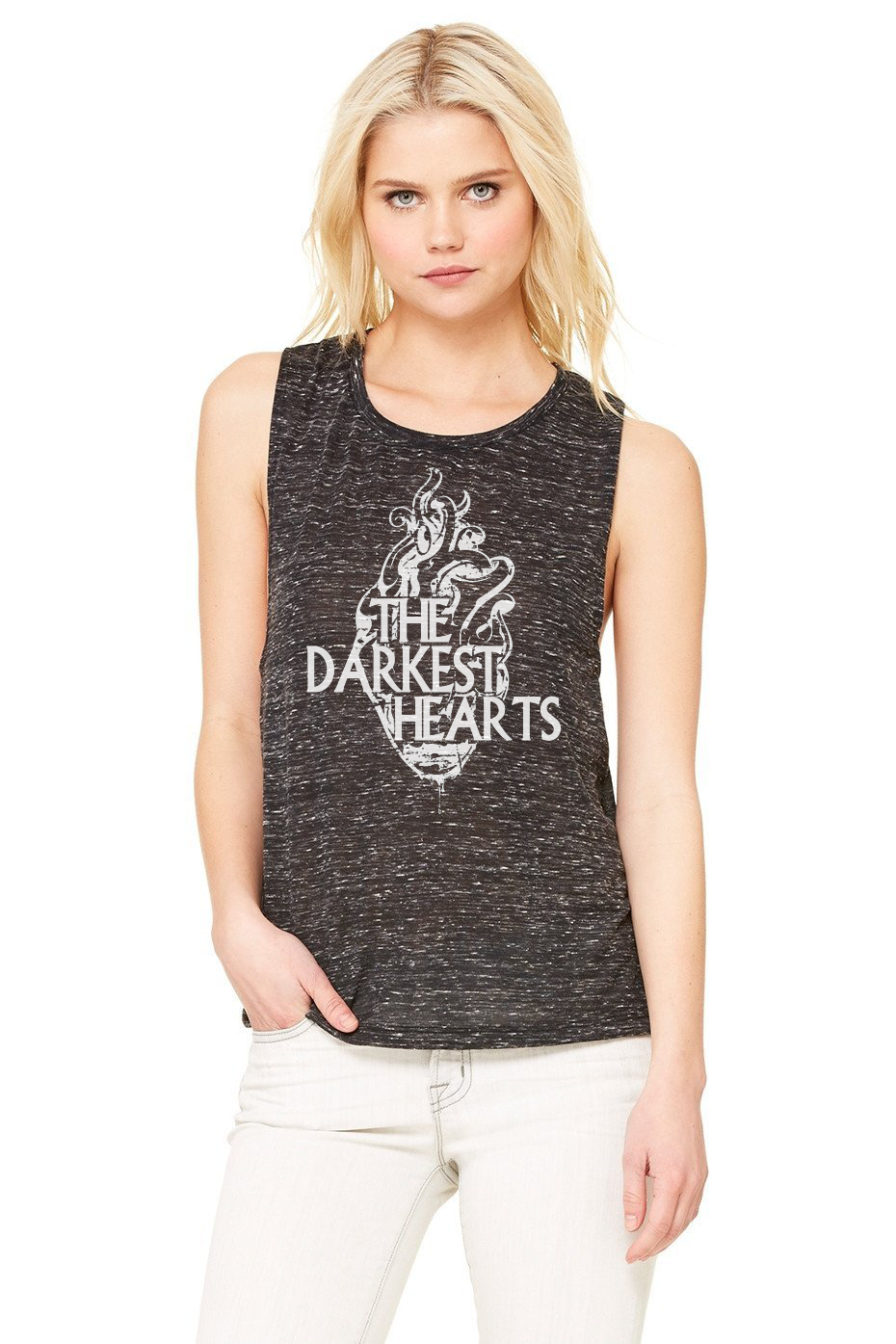 """Dark Heart"" Womens Flowy Scoop Muscle Tank"