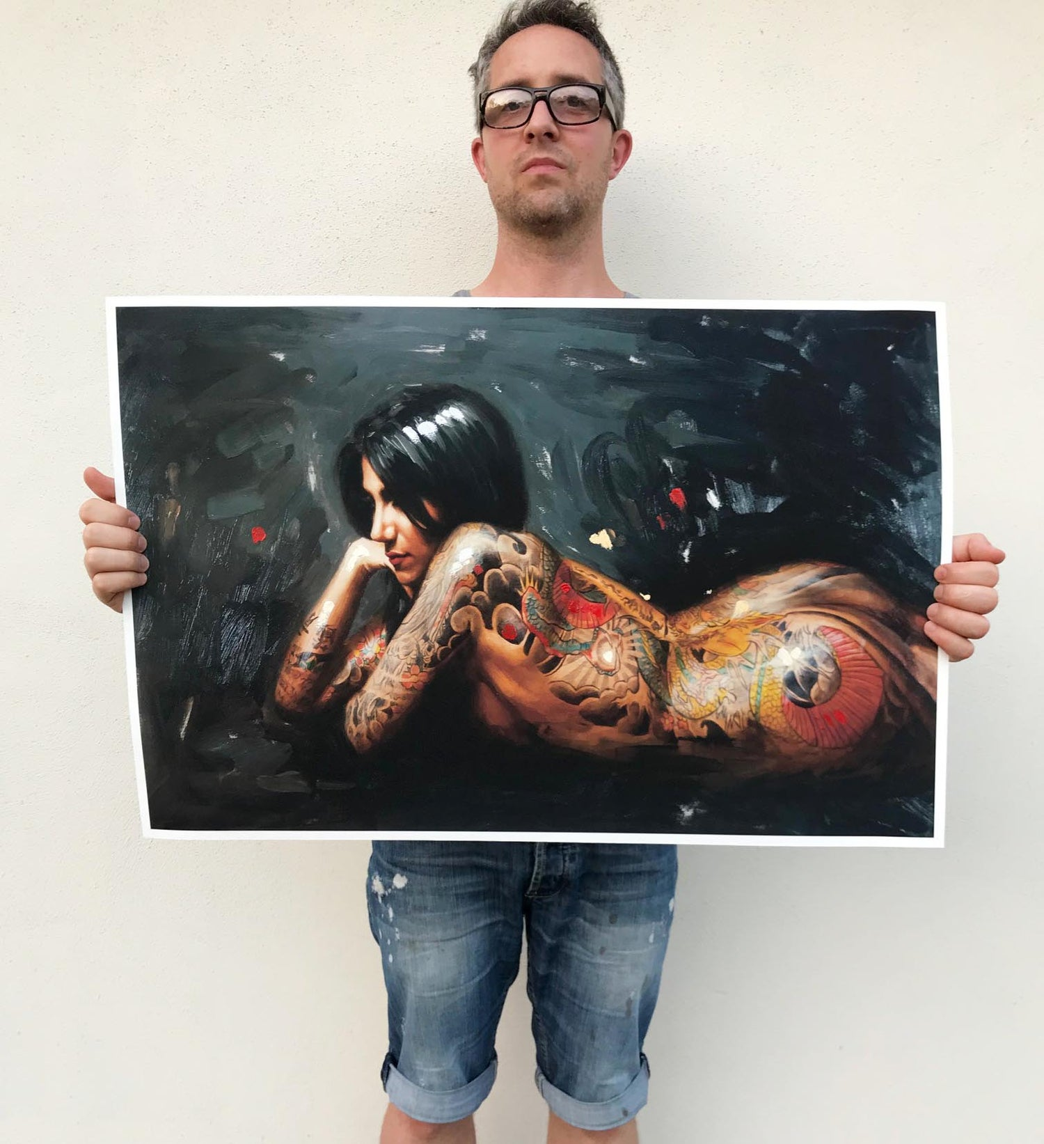 Image of EXTREMELY LIMITED HAND EMBELISHED 'DRAGON TATTOO'  Giclee Print