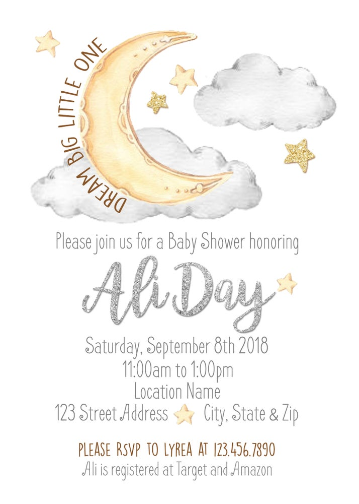 Paperfoxprints Moon Stars Baby Shower Invitation