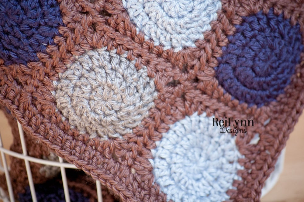 Image of Truffle Mini Afghan in Taupe, Light Country Blue, Gray and Navy