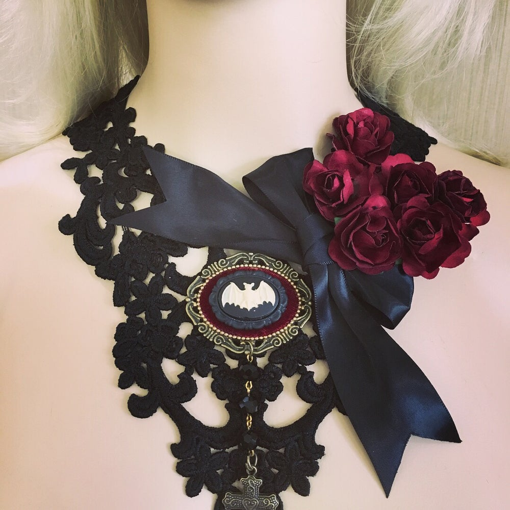 Image of Black lace necklace with bat and cross