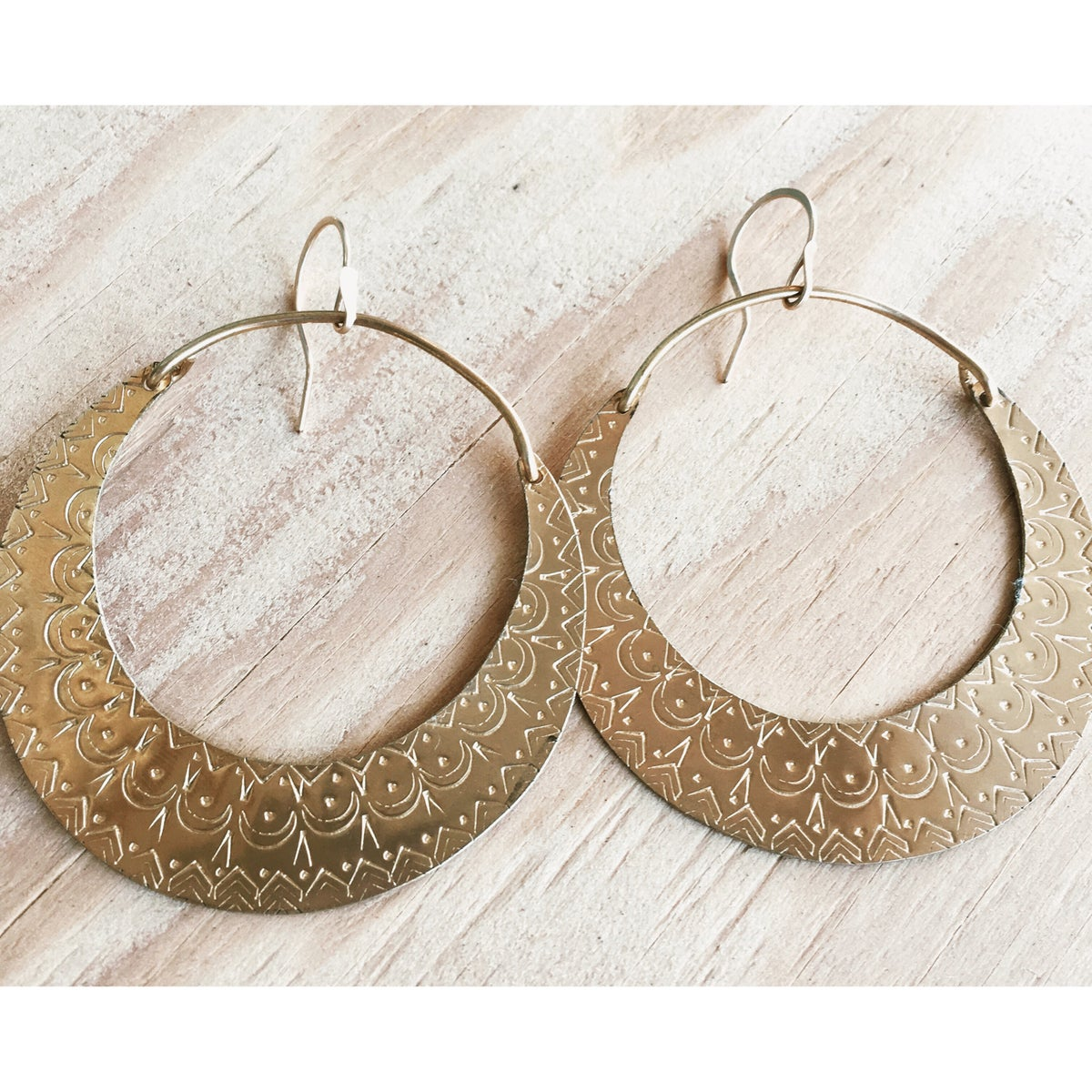 Image of Many Moons Brass Hoops