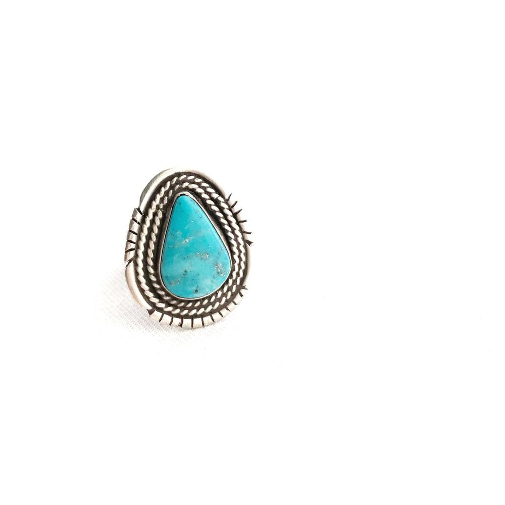 Image of Teardrop Morenci Turquoise Ring