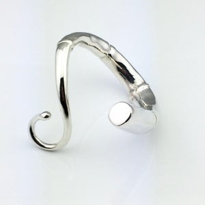 Image of LONG TENDRIL CUFF BRACELET, SILVER PLATED
