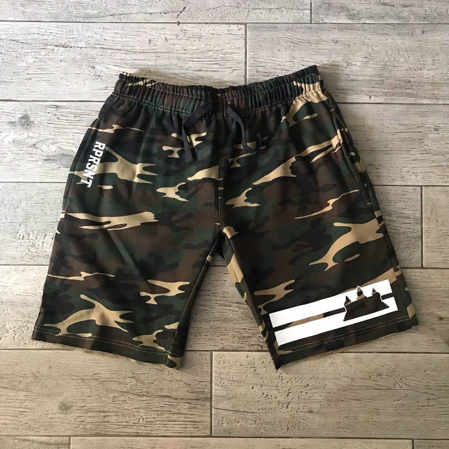 Image of Double Striped Camo Shorts