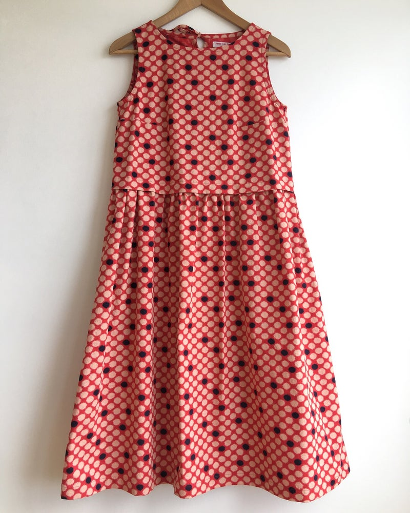 Image of Red, Blue and Natural Dotted Garden Dress