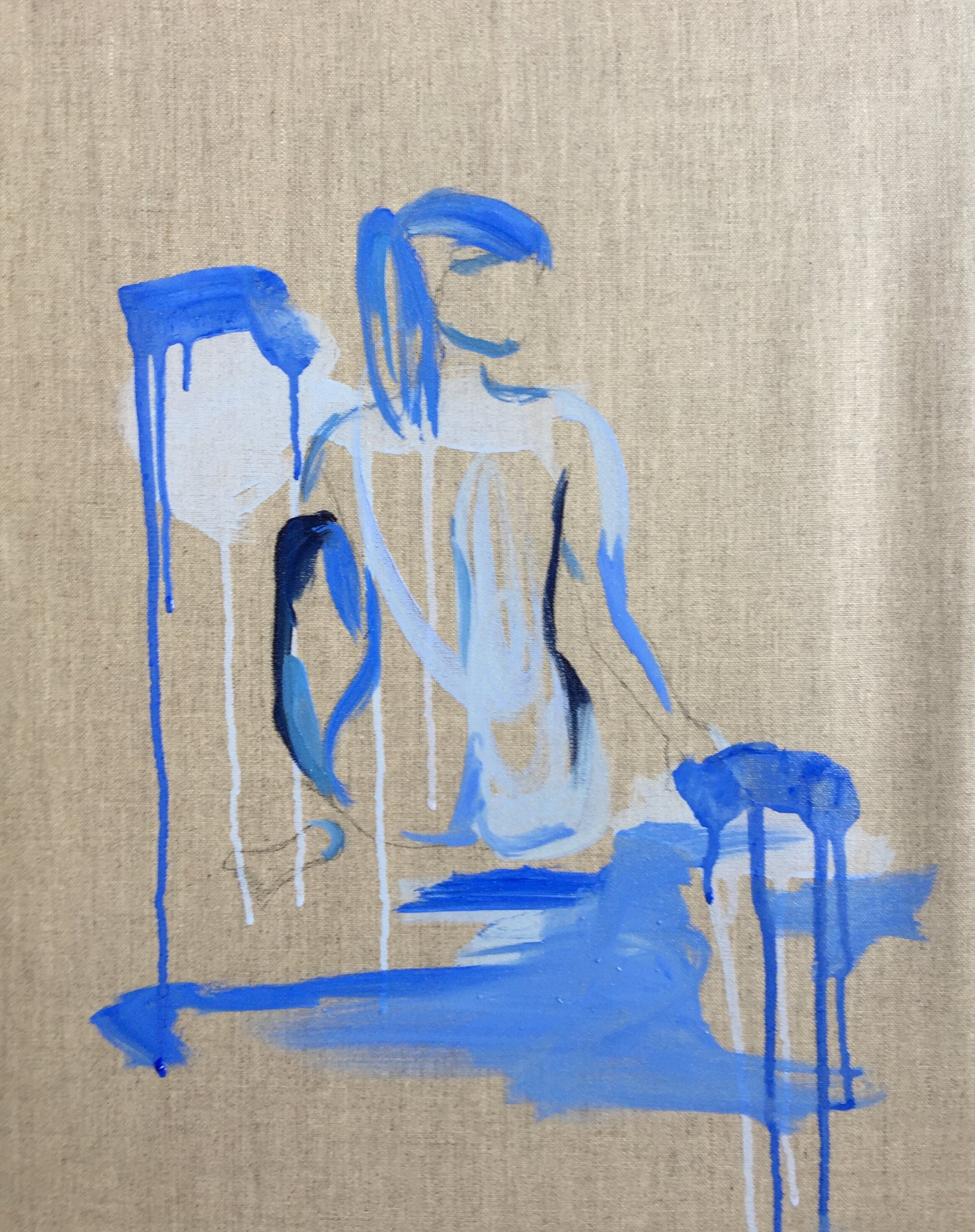 Image of 16 x 20 nude on linen