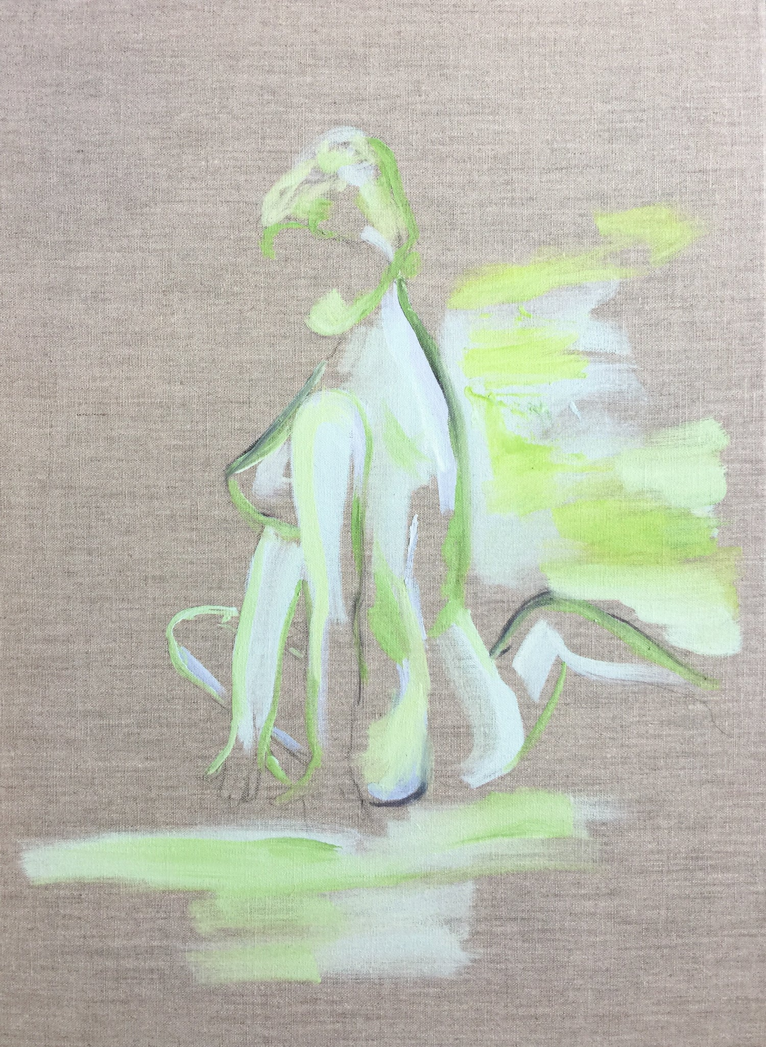 Image of 18 x 24 inch nude in green on linen