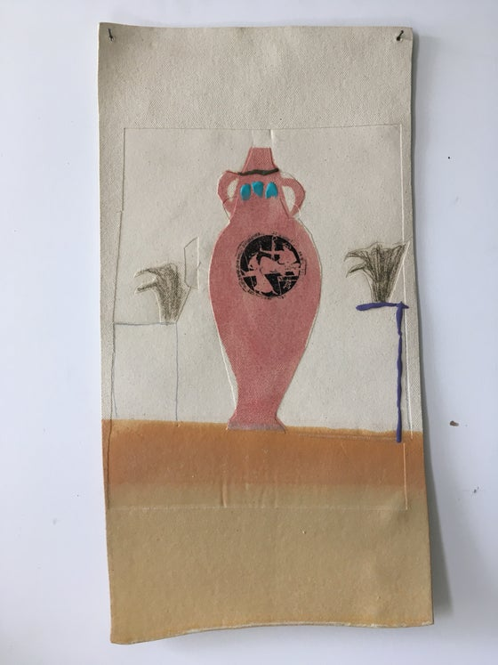 Image of Pink Amphora (clay collage)